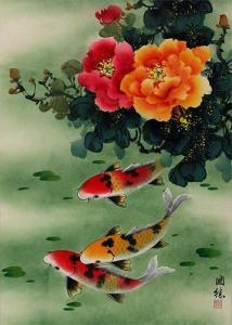 Koi Fish   Peony Flowers   Chinese Wall Scroll   Asian Koi Fish     Koi Fish   Peony Flowers   Chinese Wall Scroll close up view