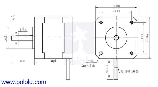 Pololu  Stepper Motor: Bipolar, 200 StepsRev, 42×38mm, 2