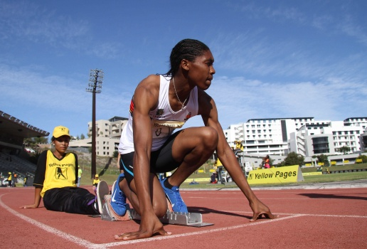 Caster prepares to start a race