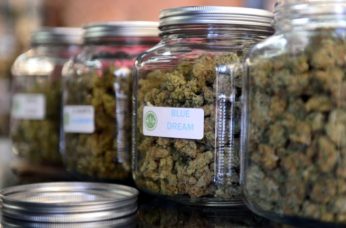 File photo: Medical marijuana at a cannabis farmers market in Los Angeles in 2014. Under California's new recreational marijuana laws, state universities are slated to get $2 million annually for medical cannabis research.