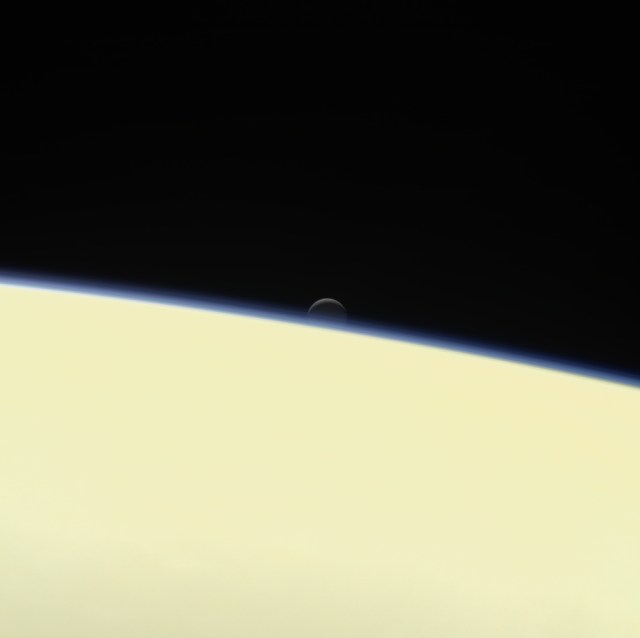 This view of Enceladus was taken by NASA's Cassini spacecraft on Sept. 13, 2017. It is among the last images Cassini sent back.