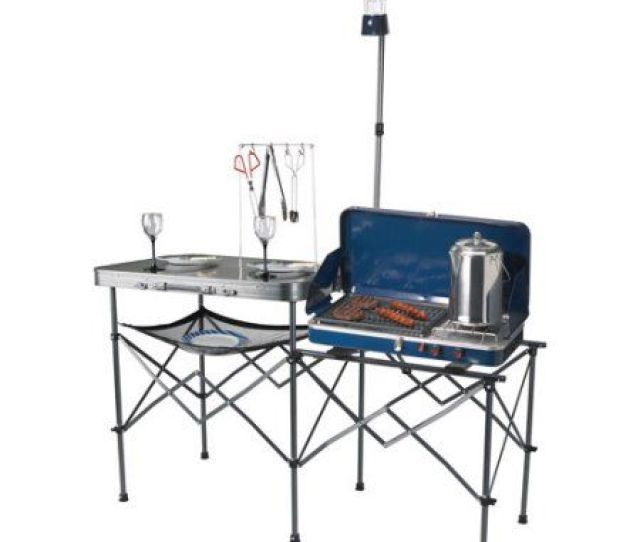 Ozark Trail Deluxe Portable Camp Kitchen Table And Grill Stand Walmart Com