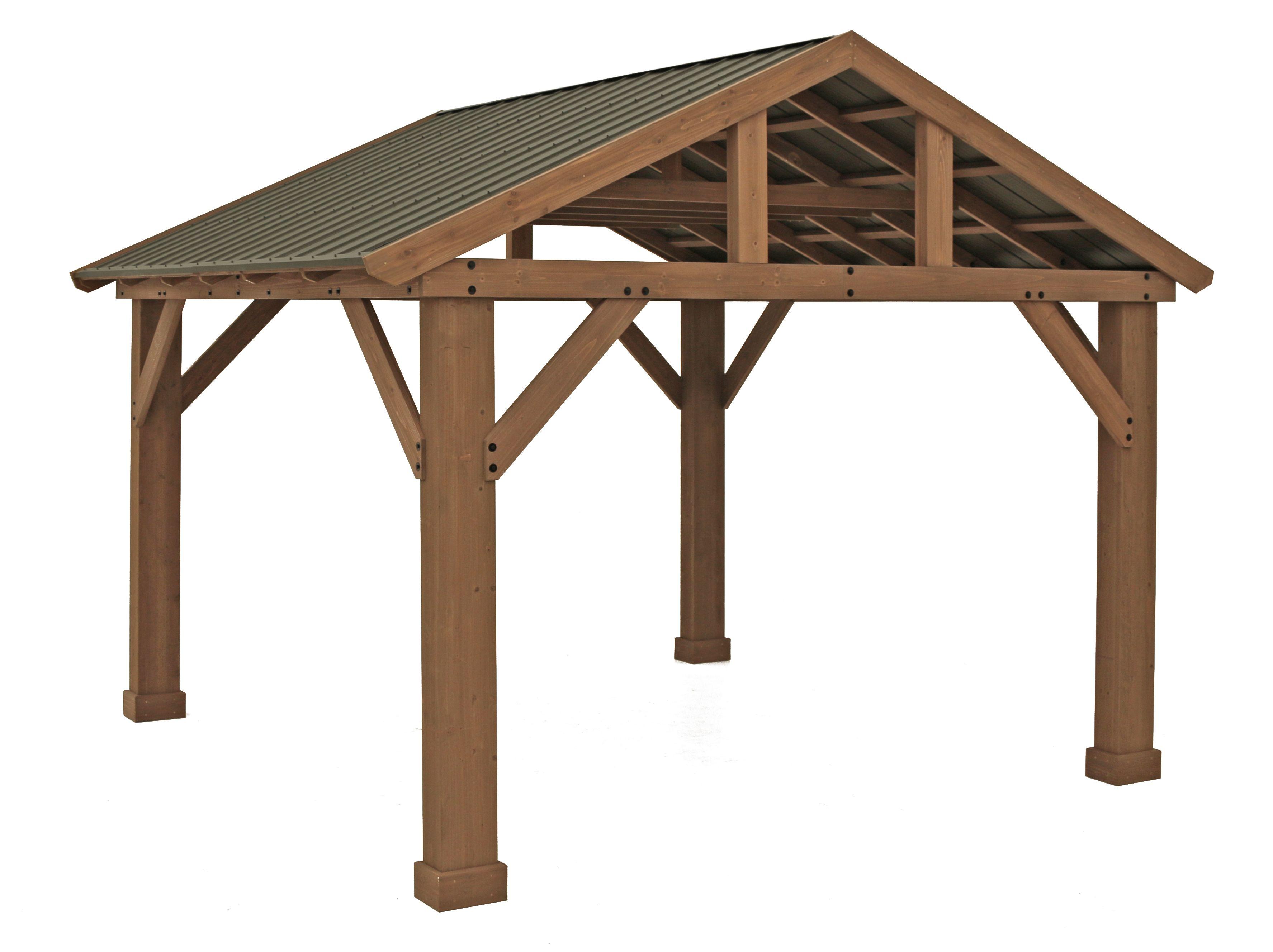 Yardistry 14' x 12' Cedar Pavilion with Aluminum Roof | eBay on Yardistry Backyard Pavilion id=88265