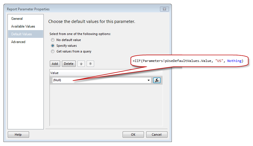 Conditional Default Values in SSRS - Tim Mitchell