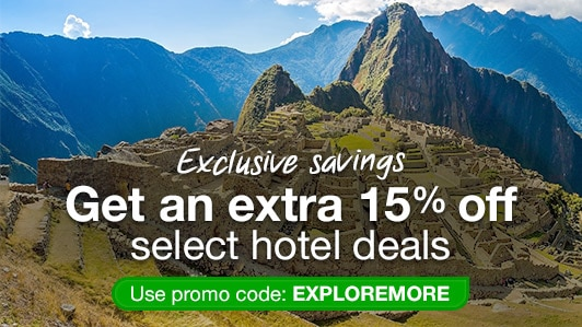 Save 15% on select hotels: EXPLOREMORE