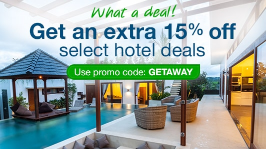 Save 15% on select hotels: GETAWAY