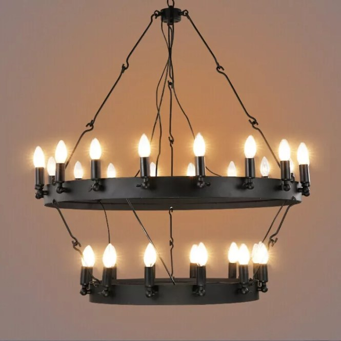 Vintage Round Shaped Pendant Light Black Hanging Wire Chandelier