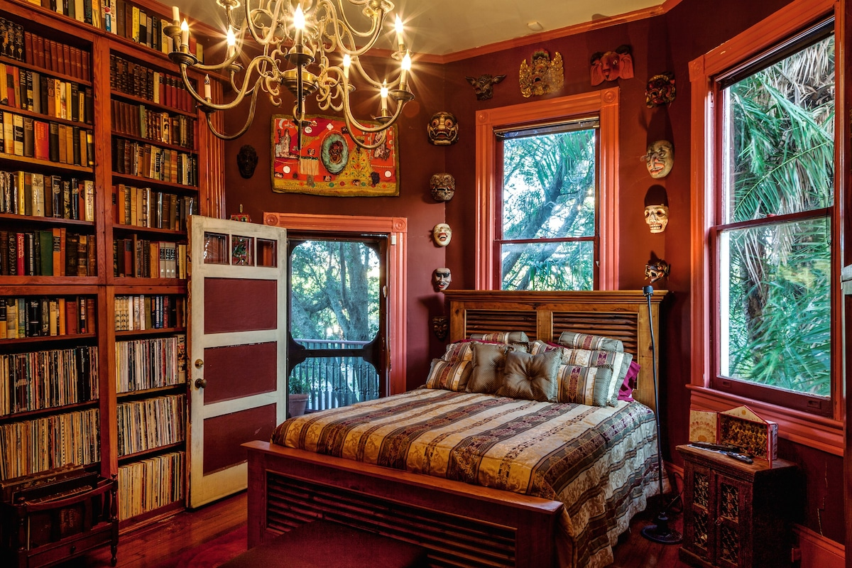 parks-bowman mansion: the library - houses for rent in new orleans