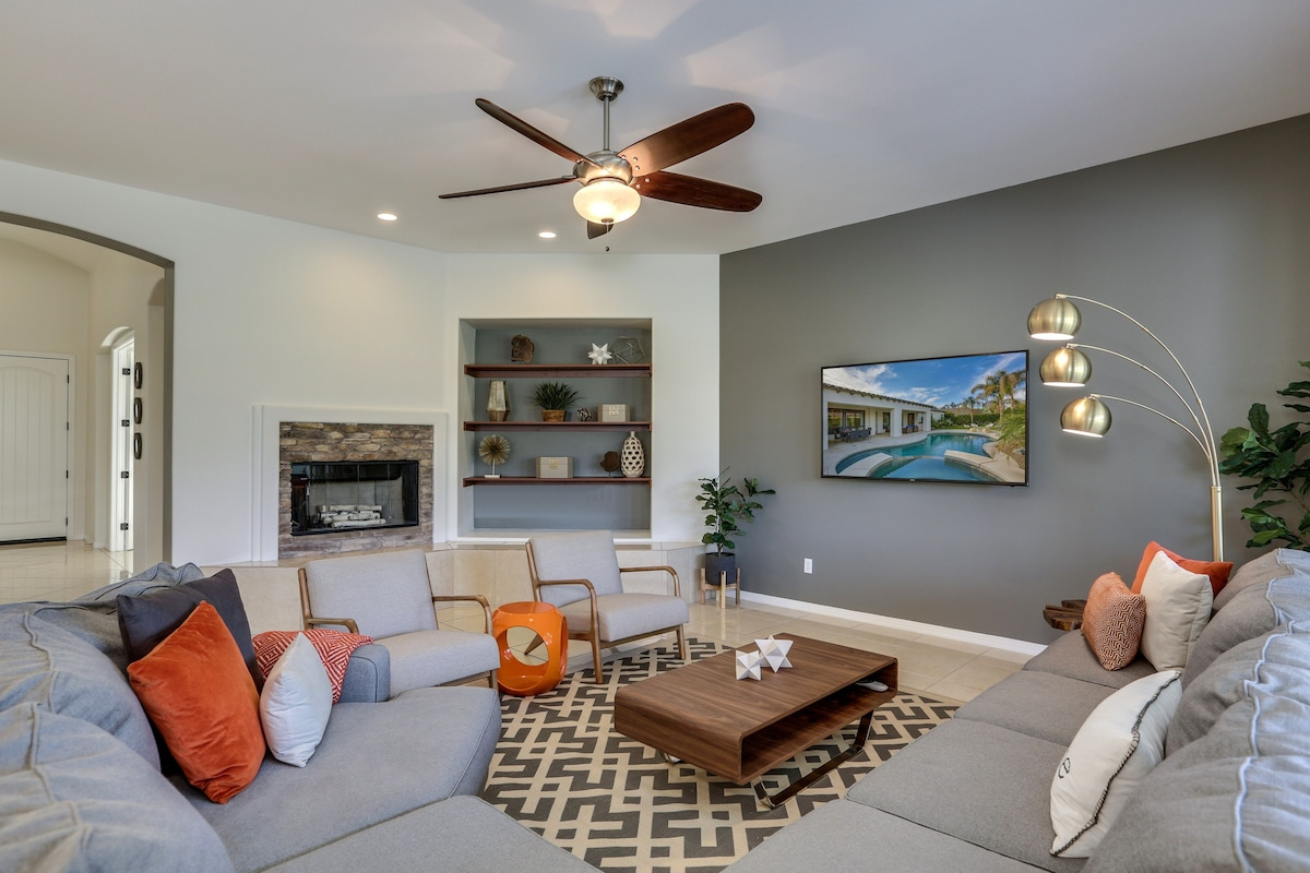 Living Room fireplace and whole home sound system