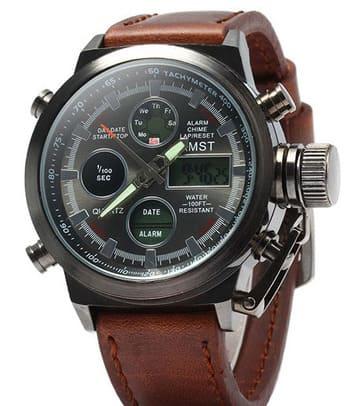Настоящие мужские армейские наручные часы AMST