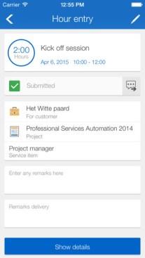 Exact tijdregistratie app Hour Entry