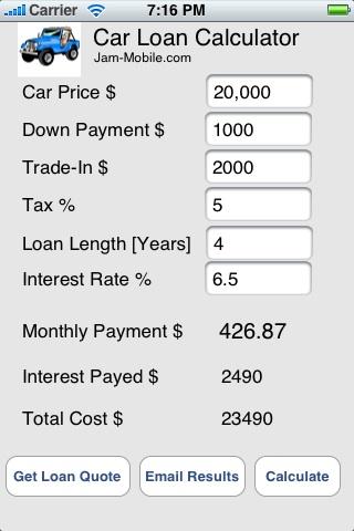 Auto Car Loan Calculator