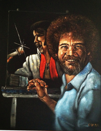 Black Velvet Bob Ross Painting a Black Velvet Elvis, by Gil Corral 2013