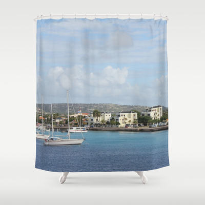 Bonaire Kralendijk Harbor Sailing Boats  by Christine Aka Stine1 Shower Curtain / 71