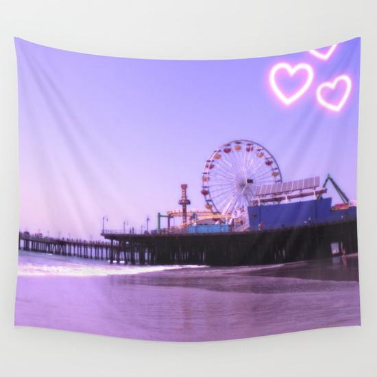 Santa Monica Pier Purple Hearts Wall Tapestry by Christine aka stine1 on Society6