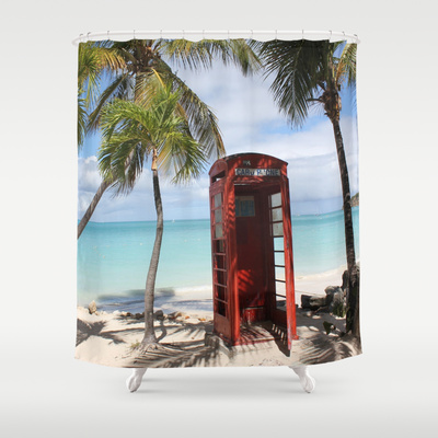 Red public Telephone Booth on Antigua Shower Curtain / 71