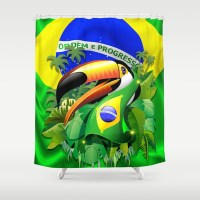 Toco Toucan with Brazil Flag Shower Curtain