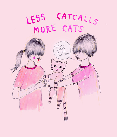 Less Catcalls, More Cats Art Print