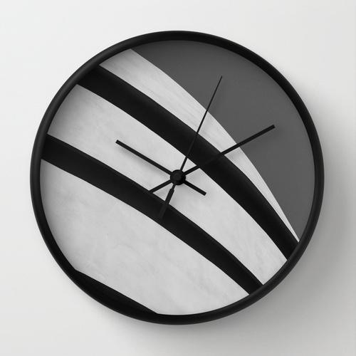 minimal minimalist black white wall clock Guggenheim museum art gift Society6 Jessica Pei