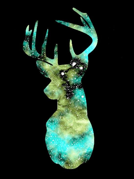 Turquoise deer head galaxy art print