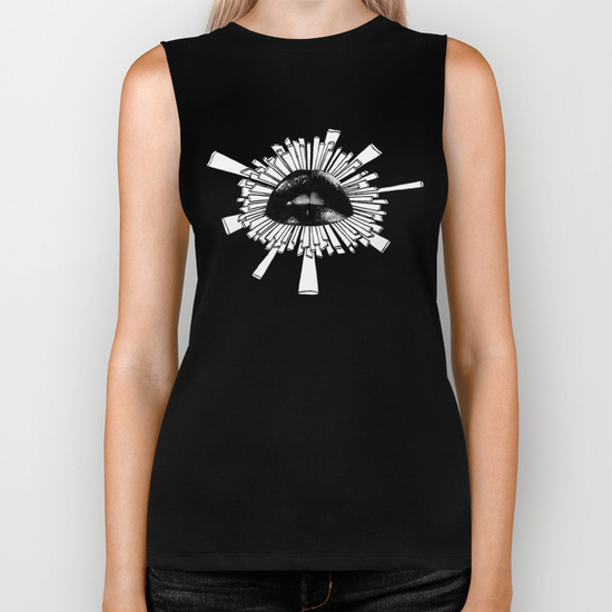 biker tank black lips zentangle