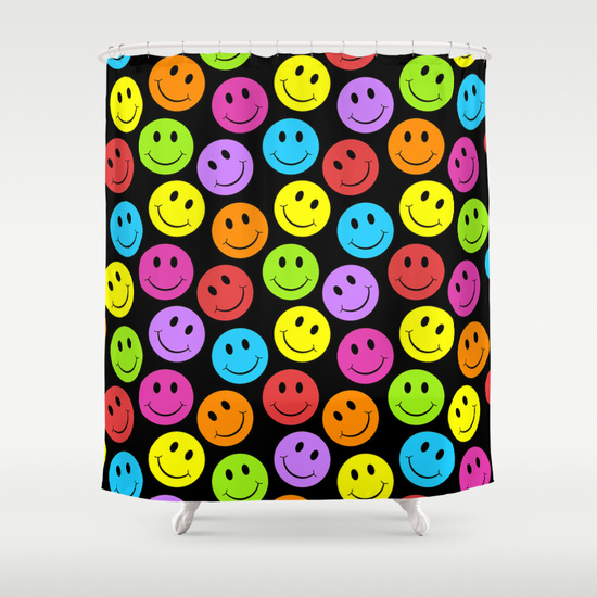 Happy, happy! Smile, smile! Joy, joy! If you are crazy for smiley faces you will love this colorful smiley face pattern in yellow, green, blue, purple, red, orange, on a black background.  smiley face design , smile design , black and colors , smiley face pattern , bright color smiley face , rainbow color smiley faces , yellow smiley face , colorful smiley faces , smiley face graphic , happy design , irony designs ,