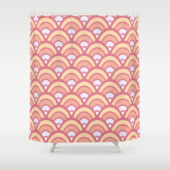 Retro Half Circles Seamless Pattern Pink Shower Curtains. Retro Half Circles Seamless Pattern Pink color design. Done in vector for a clean look. pattern, seamless, retro half circles, retro pattern