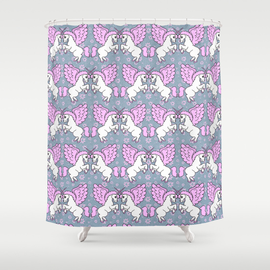 Unicorn Shower Curtain. White Unicorns with pink wings and tail with a purple fuchsia background as a tiled seamless pattern.