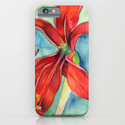 Iphone and Slim cases with red lis flower in watercolor green blue background