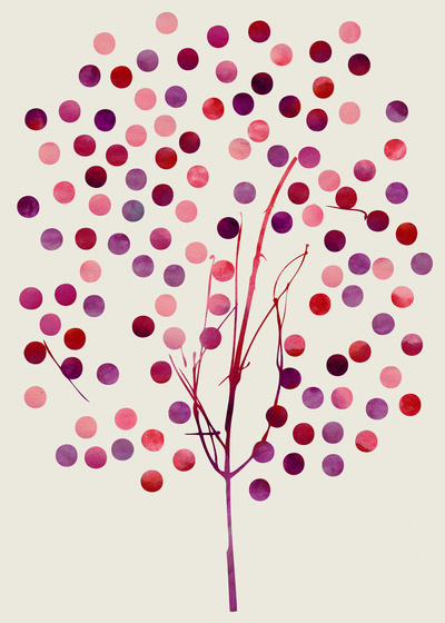 Tree of Life_Berry Print by Jacqueline & Garima - $18