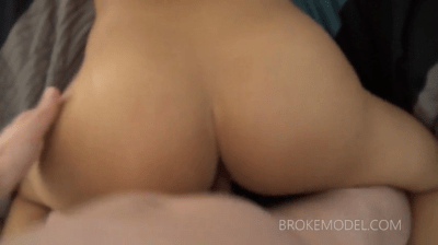 Sexy Brunette Smeared With Cum On Her Butts