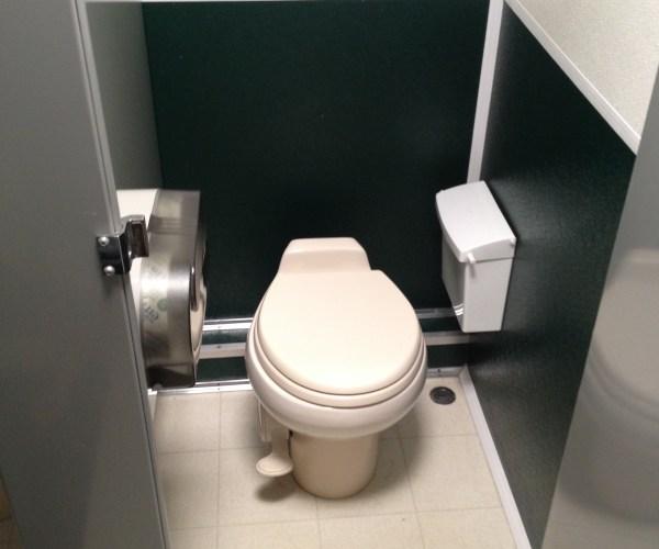 Large Restroom Trailer Rentals DE - Inside stall