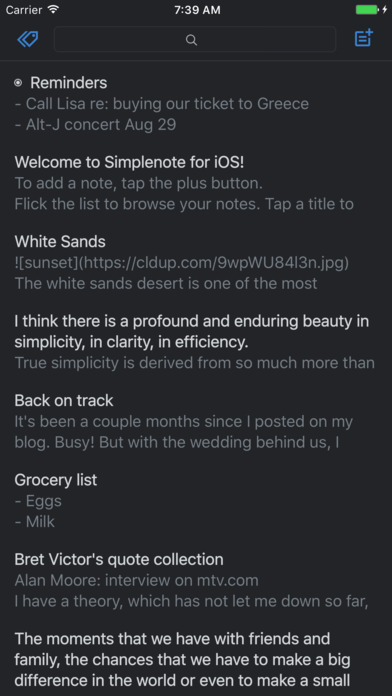 Simplenote Screenshot