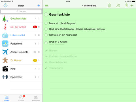 Pocket Lists – Checklisten und Erinnerungen Screenshot