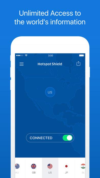 HotspotShield VPN Unlimited Privacy Security Proxy Screenshot
