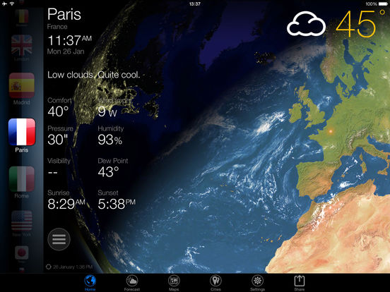 3D Earth - weather widget, world clock forecast Screenshot
