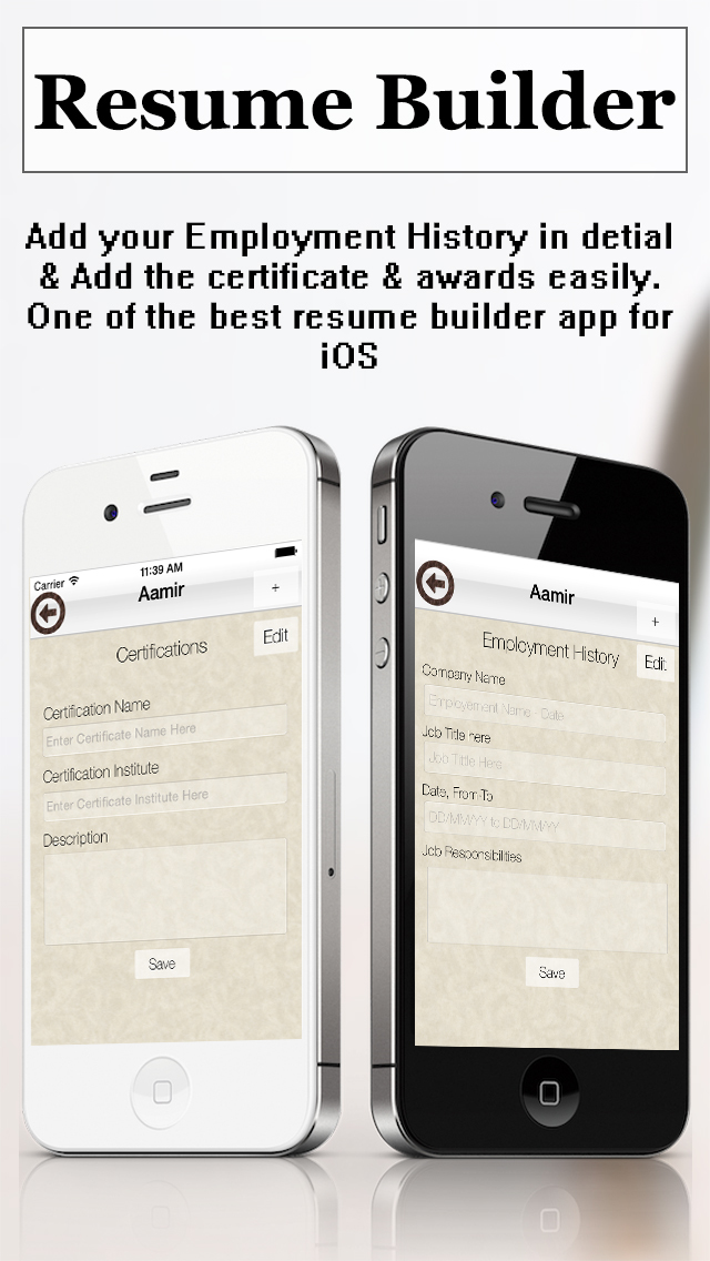Resume Builder Pro   CV Maker and Resume Designer with PDF Output     Screenshots iPhone   iPod Screenshots iPhone   iPod