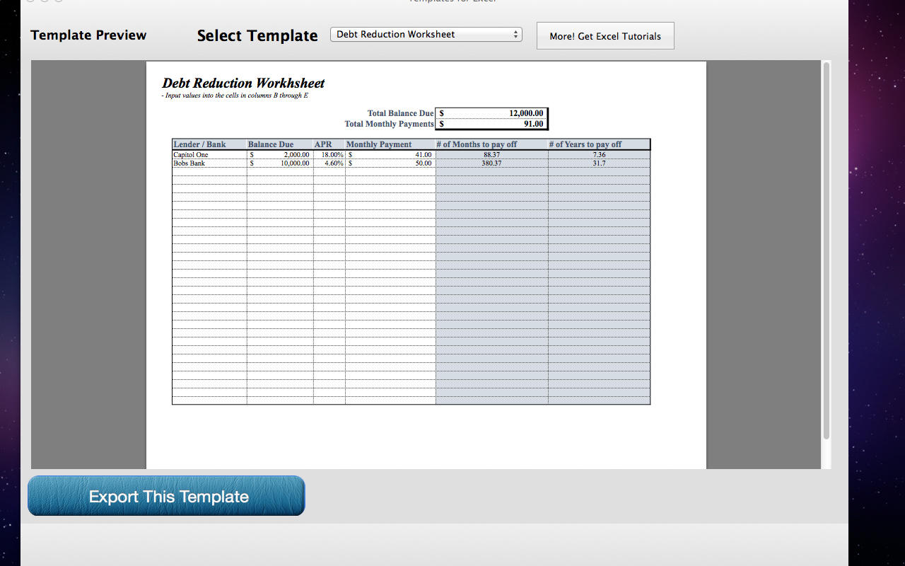 App Shopper Templates For Excel