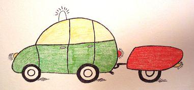 kinderzeichnung auto anhänger