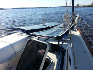 Solar panels on the bow