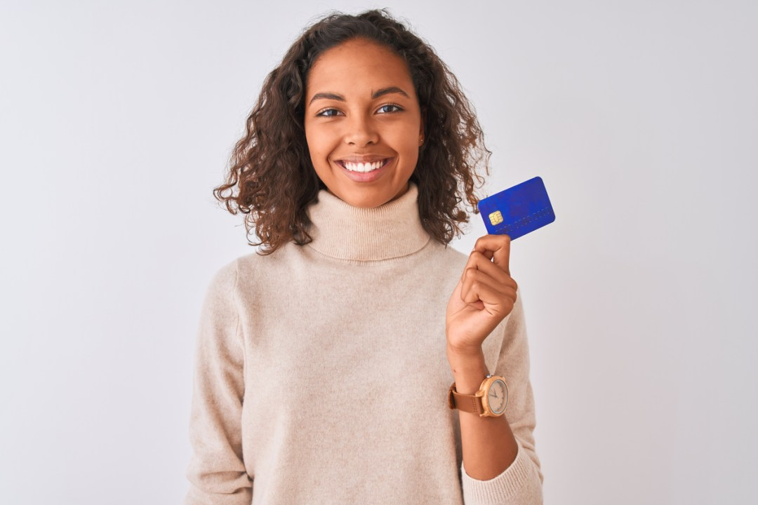 A physical therapy client ready to pay for her sessions with a credit card through her physical therapist's patient portal.