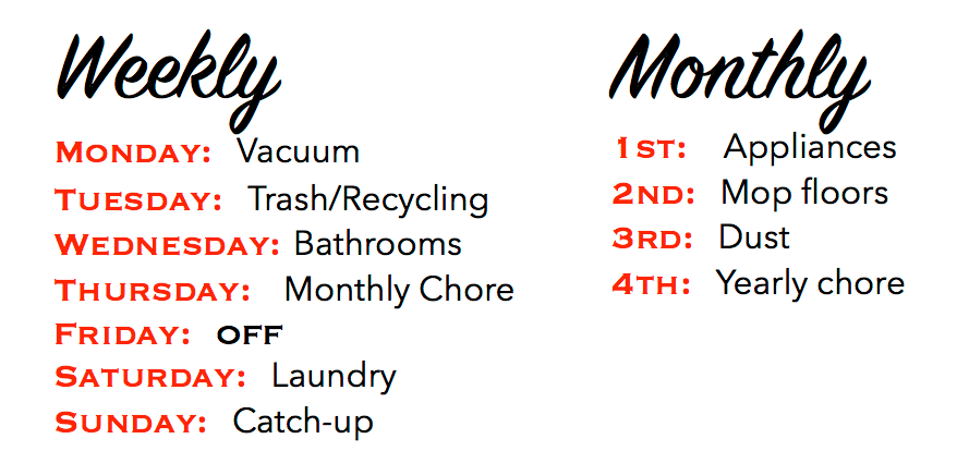 weekly and monthly chores