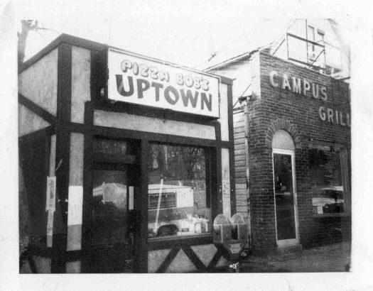 The exterior of Pizza Bob's restaurant, 1974.