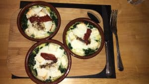 Lunch today - Spinach, egg, feta and sun-dried tomato