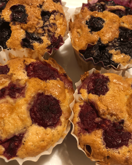 Paleo muffins with blueberries and raspberries