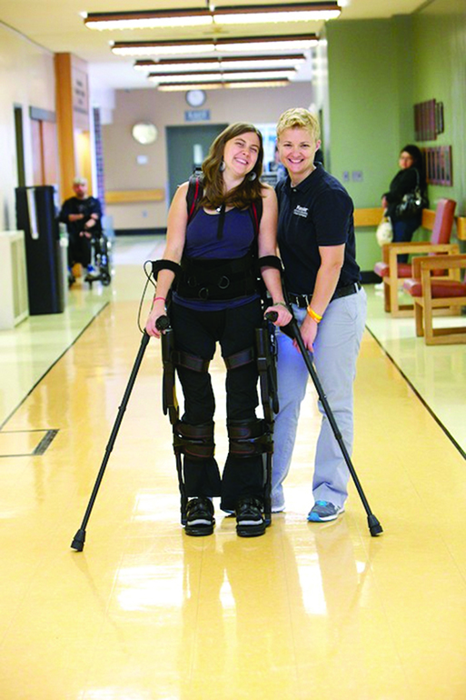 Among the advanced technologies at Kessler Institute for Rehabilitation is the EKSO GT, a robotic assisted gait trainer used to promote upright posture while modifying parameters to facilitate safe gait training.