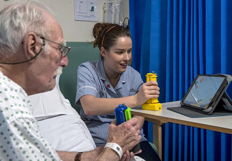The video game Balloon Buddies aims to enable healthy volunteers to play with patients with physical impairments as part of their rehabilitation. (Photo courtesy of Imperial College London)