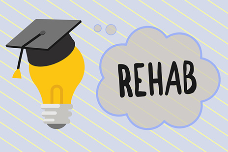 Word writing text Rehab. Business concept for course treatment for drug alcohol dependence typically at residential
