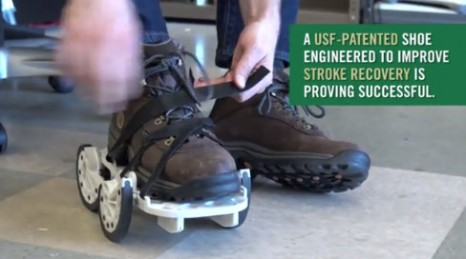 The iStride device is designed to be strapped over the shoe of the stroke patient's good leg and generates a backwards motion, exaggerating the existing step, making it harder to walk while wearing the shoe. The awkward movement strengthens the stroke-impacted leg, allowing gait to become more symmetrical once the shoe is removed. (Photo courtesy of University of South Florida)
