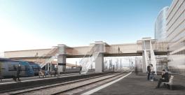 Gare +, Angers, vue de la passerelle, DFA Feichtinger architecte